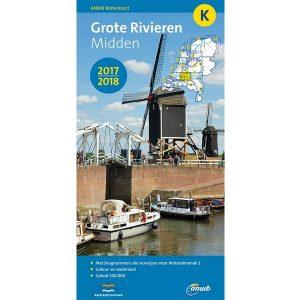 ANWB waterkaart K Grote Rivieren Midden 2017-2018